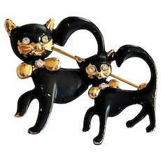 Two Cute Kitty Cats Black and Goldtone Brooch with Clear Rhinestones