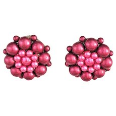 Round Pink Beaded Clip On Earrings