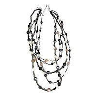 Multi Strand Black and Gray Beaded Necklace with Faux Gray Pearls