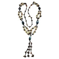 Double Strand Polished Stone Pull Over Necklace with Mother of Pearl