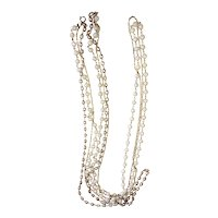 Long Multi Strand Cream Color Beads and Goldtone Necklace with Faux Pearls