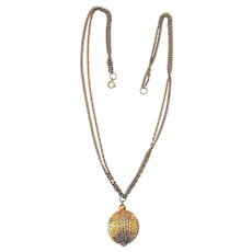 Double Strand Goldtone Necklace with Pretty Mesh Ball Pendant