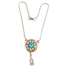 Round Goldtone Flower with Teardrop Necklace / Brooch with Aqua Blue Glass Center