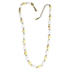 NAPIER signed Goldtone and White Stars Necklace