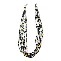 Multi Strand  Black and Beige Wood and Nut Shell Beaded Necklace