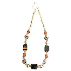 Tiger Eye Square and Silvertone Hearts and Beads Necklace