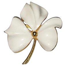 TORINO signed White Enamel on Goldtone Flower Brooch