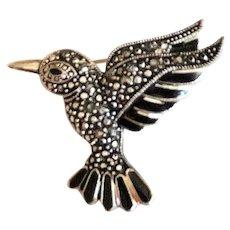 Hummingbird Silvertone Brooch with Pretty Black Rhinestones