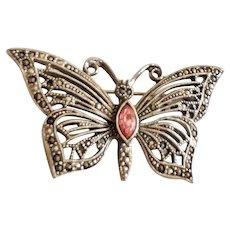 Silvertone Butterfly Brooch with Pretty Pink Sparkling Rhinestone