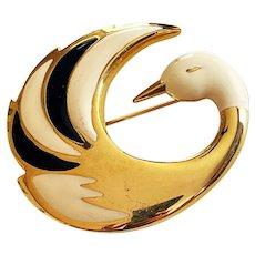 Elegant Swan Goldtone Brooch with Pretty Cream and Black Enamel