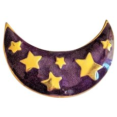 Enameled Purple and Goldtone Moon Brooch with Stars