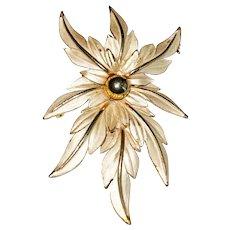 PARKLANE signed Flower Goldtone Brooch with Cream Color Enamel