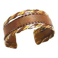 Copper Brass and Silver Cuff Bracelet