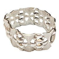 CORO - Beautiful Square Linked Design Silvertone Bracelet