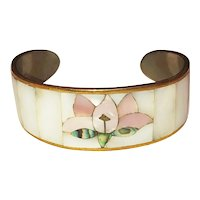 Polished Shell  Pink Flower Cuff Bracelet