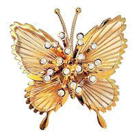 MONET signed Goldtone Butterfly Pin Brooch with Wire Wings and Rhinestones