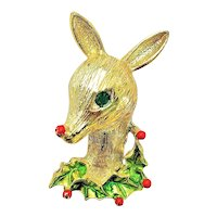 ART signed Reindeer Head with Holly Goldtone Pin Brooch with Blue Rhinestone Eye