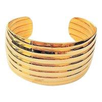 Wide Goldtone Cuff Bracelet with Pretty Design