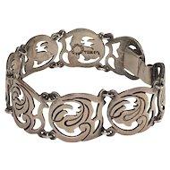 TAXCO Sterling Silver Floral Design Bracelet