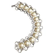 SARAH COVENTRY - Beautiful Silvertone Bracelet with Pretty Faux Pearl Design - REDUCED