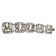 Pretty Victorian Look Silvertone Bracelet with Cherubs Playing Design - REDUCED