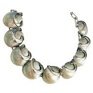 Beautiful Silvertone Dome Design Linked Bracelet - REDUCED