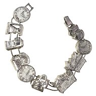 Pretty Silvertone Slide Charm Bracelet with Double Chains - REDUCED