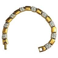 Beautiful Goldtone Designed Bracelet with Pretty Rhinestones - 50% OFF
