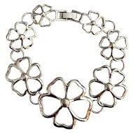 Open Flower Designed  Silvertone Bracelet