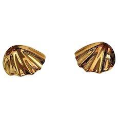 CROWN TRIFARI  Goldtone Swirl Clip On Earrings