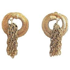 KRAMER signed Goldtone Multi Chain Drop Clip On Earrings