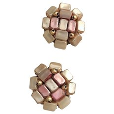 HONG KONG   Beautiful Pink and Gray Beaded Clip On Earrings