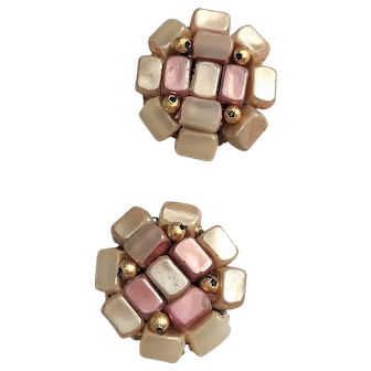 HONG KONG  signed  Pink and Gray Beaded Clip On Earrings