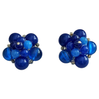 Vintage Royal Blue Beaded Clip On Earrings