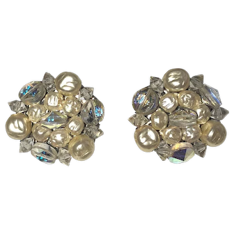 Vintage Crystal and Faux Pearl Cluster Clip On Earrings
