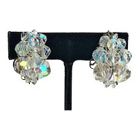 Sparkling Crystal Cluster Clip On  Earrings