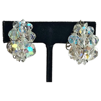 Vintage Crystal Cluster Clip On Earrings
