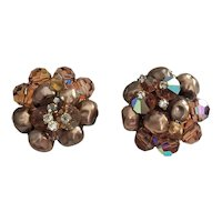 Glass Beads  and Faux Pearl Cluster Clip On Earrings