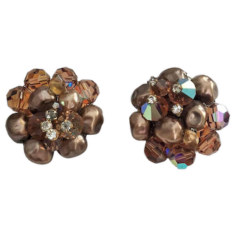 Vintage Earthtone Crystal and Faux Pearl Cluster Clip On Earrings