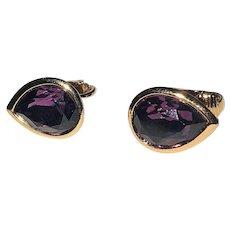 Amazing Goldtone and Purple Teardrop Clip On Earrings