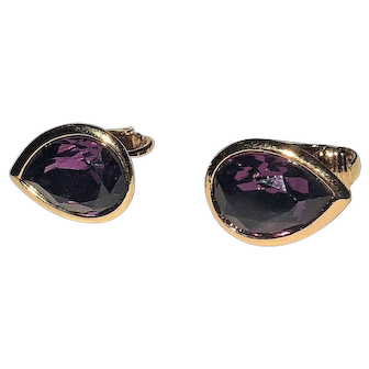 Amazing Goldtone and Purple Teardrop Clip On Earrings