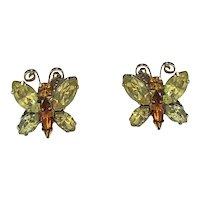 Butterfly Sparkling Rhinestone Clip On Earrings