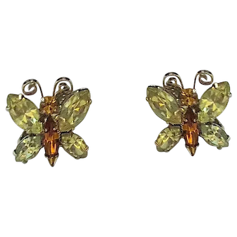 Vintage Crystal Butterfly Clip On Earrings