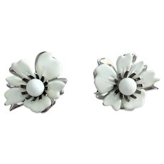 Sarah Coventry Silvertone and White Flower Clip On Earrings