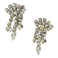 Sparkling Clear Rhinestone Cluster Dangle Earrings with Screw Backs