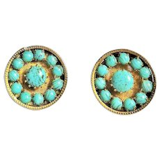 Southwestern Design Goldtone Round Clip-on Earrings with Turquoise Look Stones