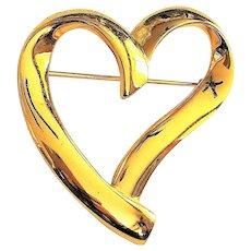 TRIFARI - Pretty Goldtone Heart Pin Brooch