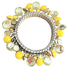 Very Nice Silvertone Stretch Bracelet with Pretty Yellow and Clear Charms