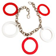 Fun Red and White Circle Charms on Silvertone Bracelet