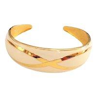 Enameled Cream and Goldtone Cuff Bracelet